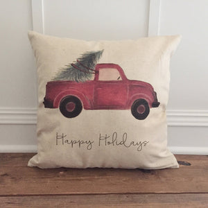 Red Truck Pillow Cover (Happy Holidays) - Linen and Ivory