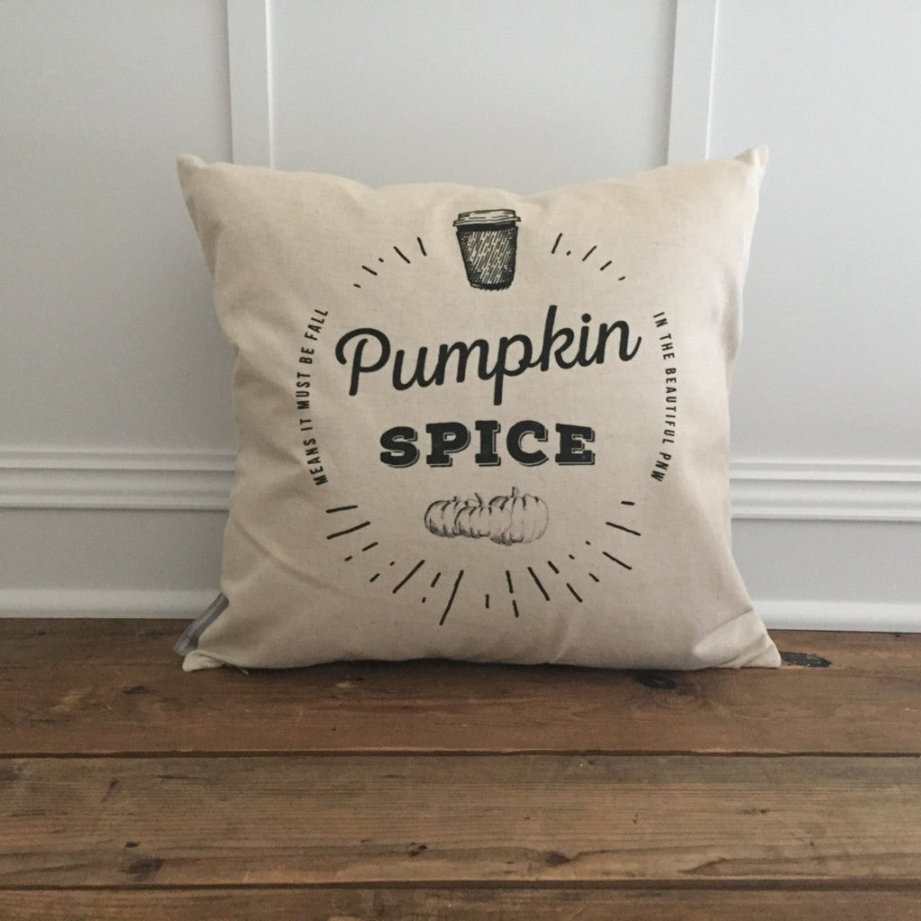 Pumpkin Spice Pillow Cover - Linen and Ivory