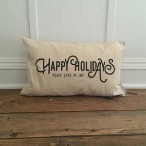Happy Holidays Pillow Cover (Black) - Linen and Ivory
