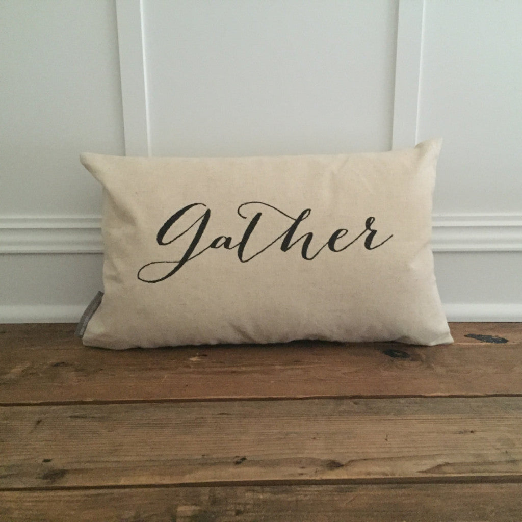 Gather Pillow Cover - Linen and Ivory