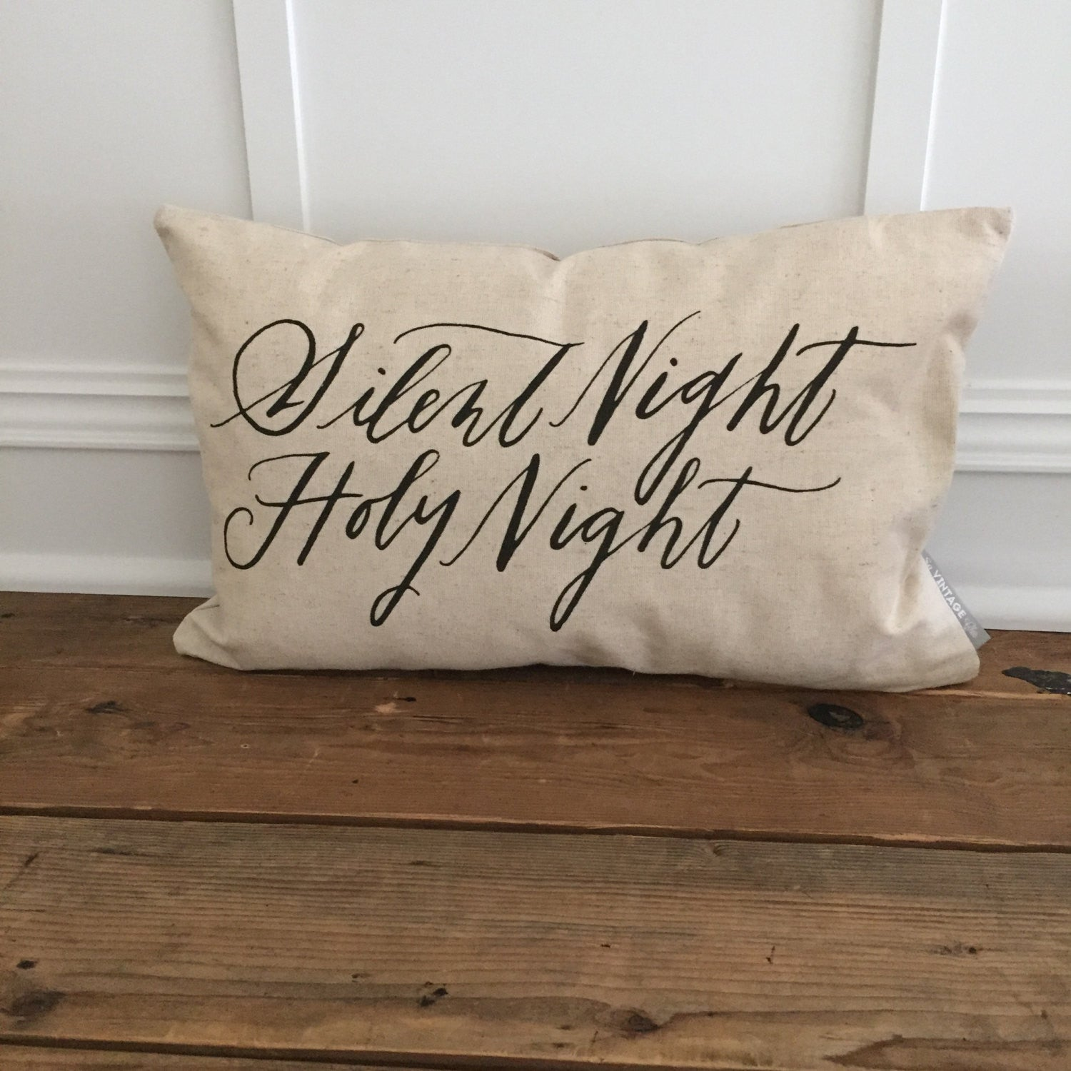 Silent Night Holy Night Pillow Cover - Linen and Ivory