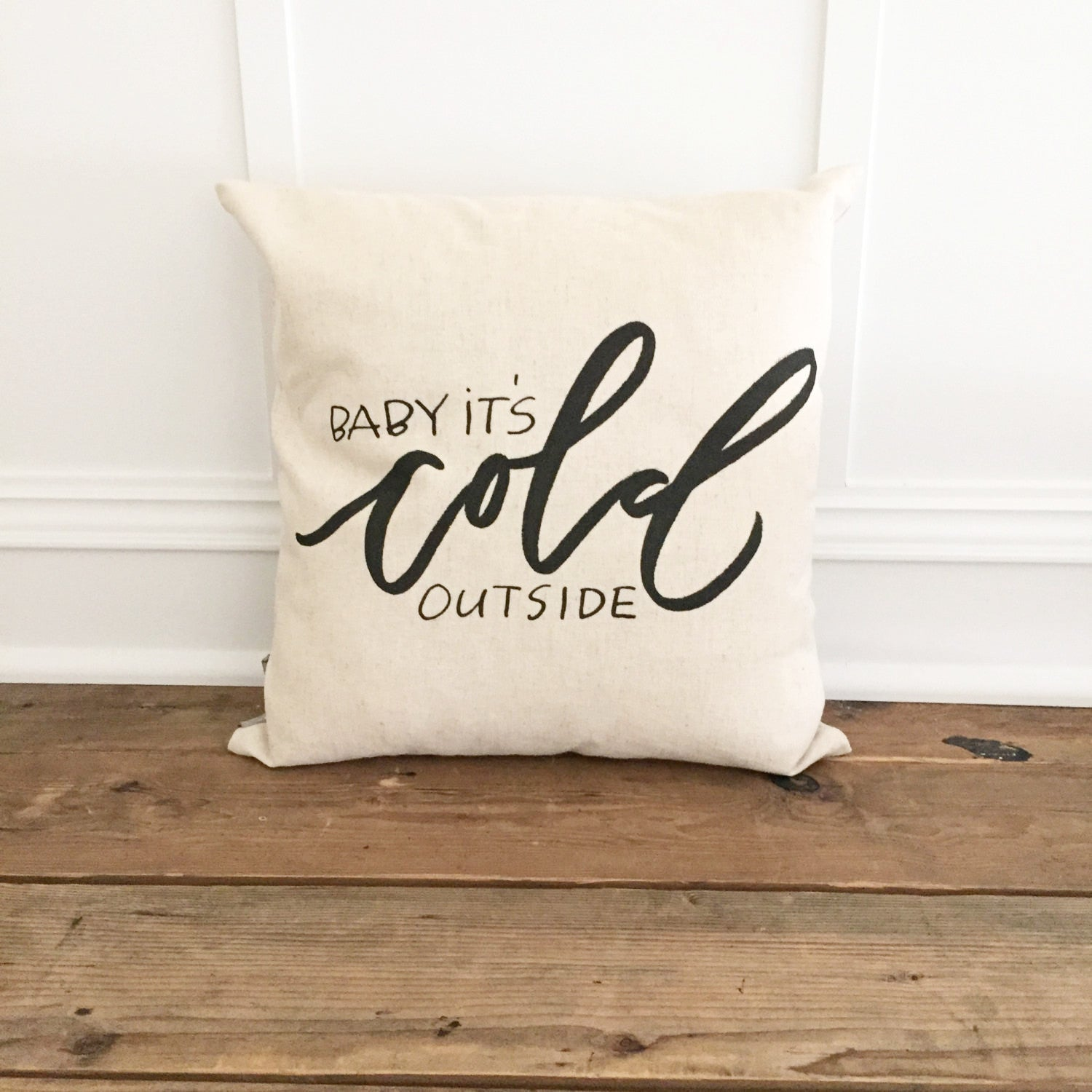 Baby It's Cold Outside (Design 1) Pillow Cover - Linen and Ivory