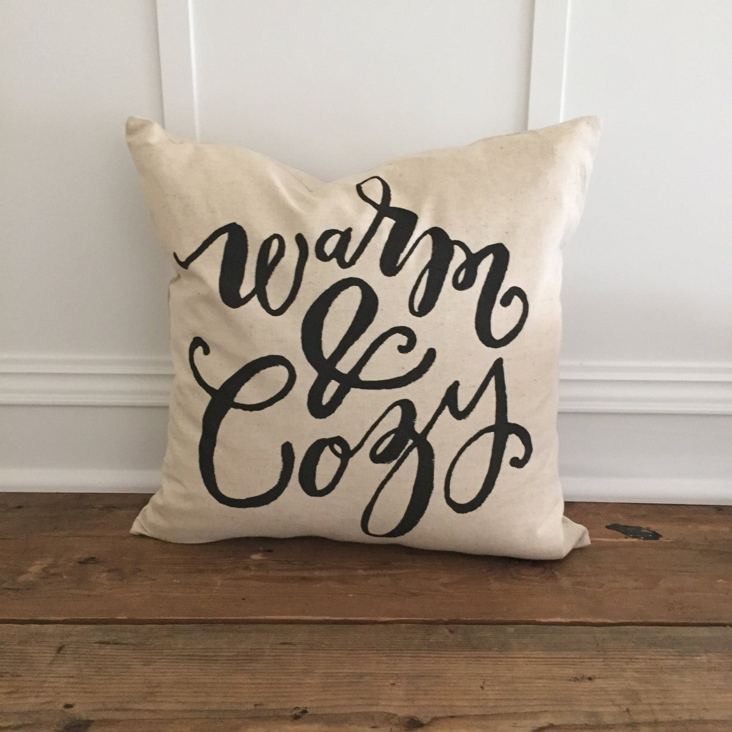 Warm & Cozy Calligraphy Pillow Cover - Linen and Ivory