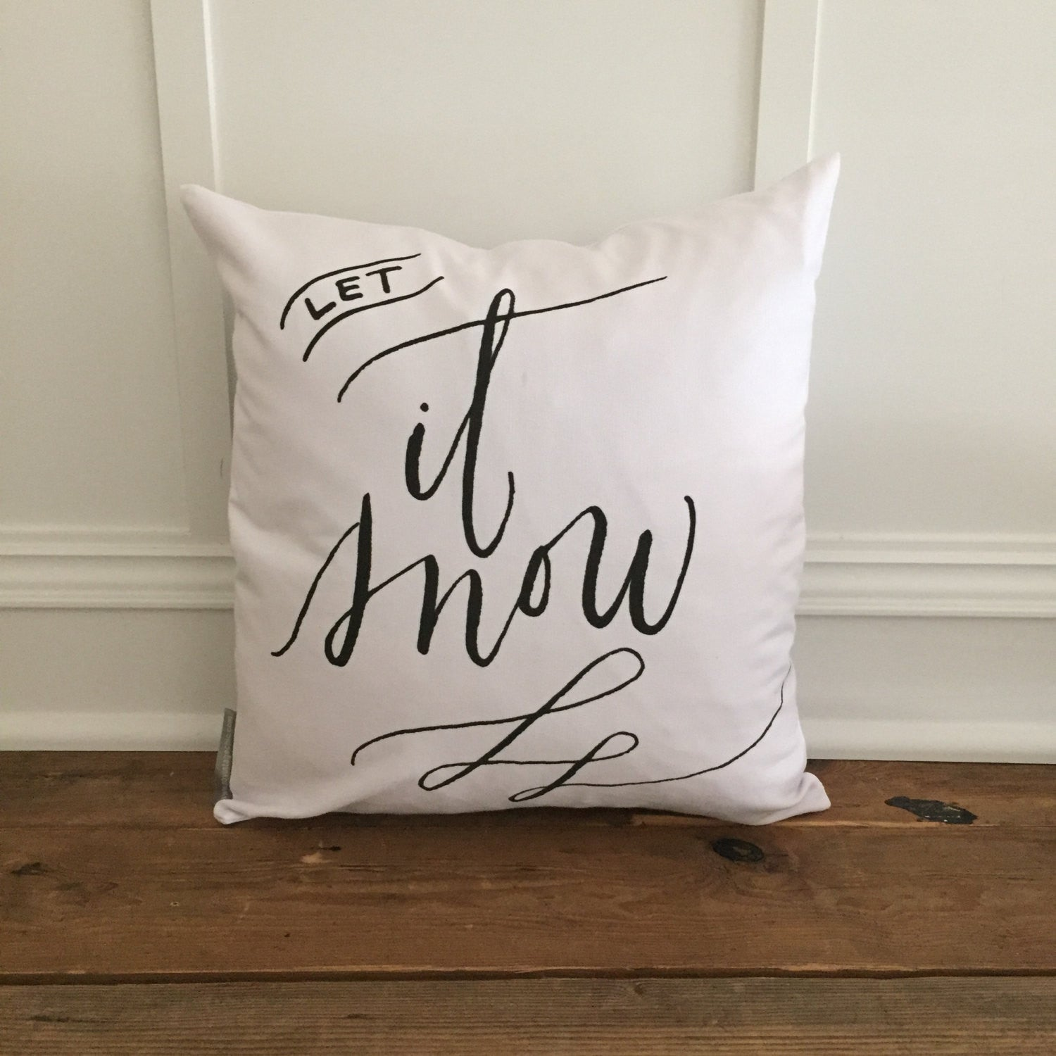 Let It Snow Pillow Cover - Linen and Ivory