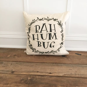 Bah Hum Bug Pillow Cover - Linen and Ivory