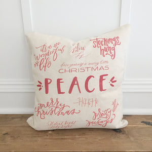 Christmas Words Pillow Cover (Red) - Linen and Ivory