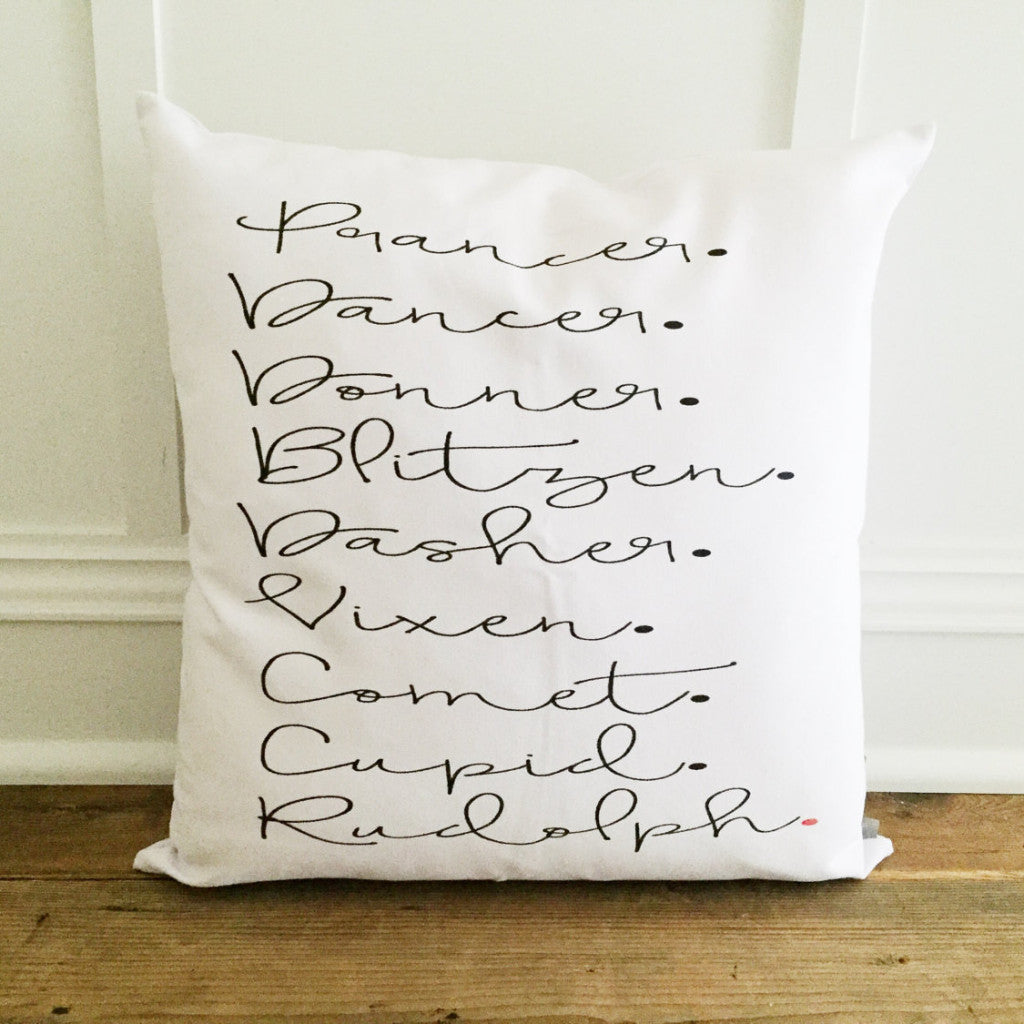 Reindeer Names Pillow Cover (Script) - Linen and Ivory