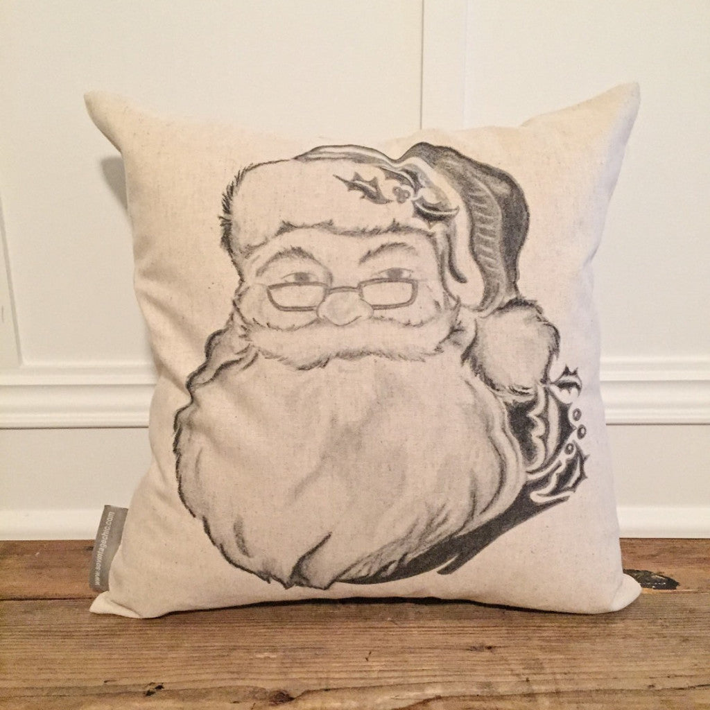 Hand Drawn Santa Pillow Cover - Linen and Ivory