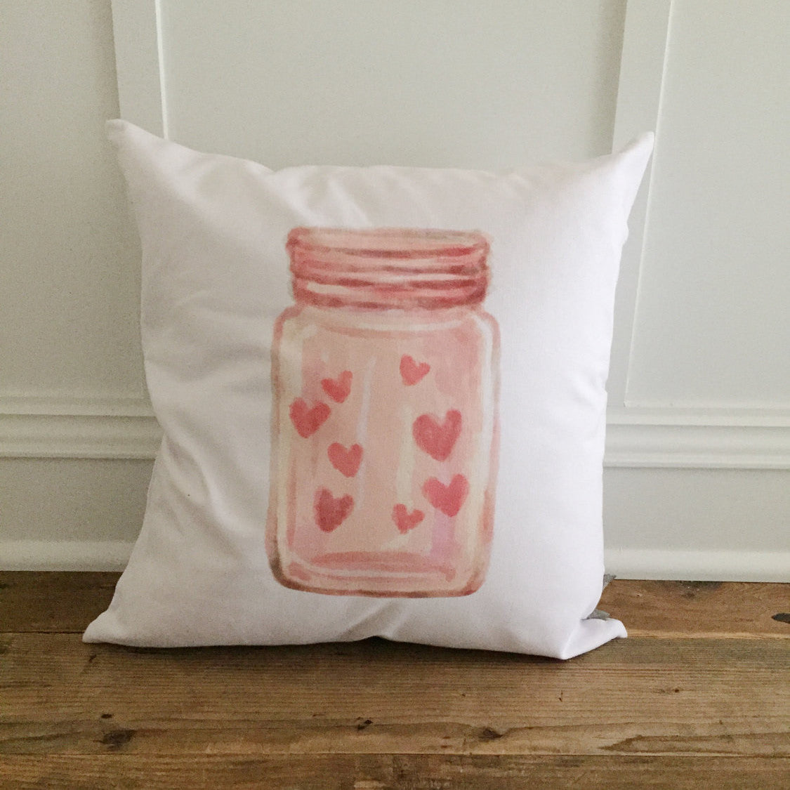 Valentine Mason Jar Pillow Cover - Linen and Ivory