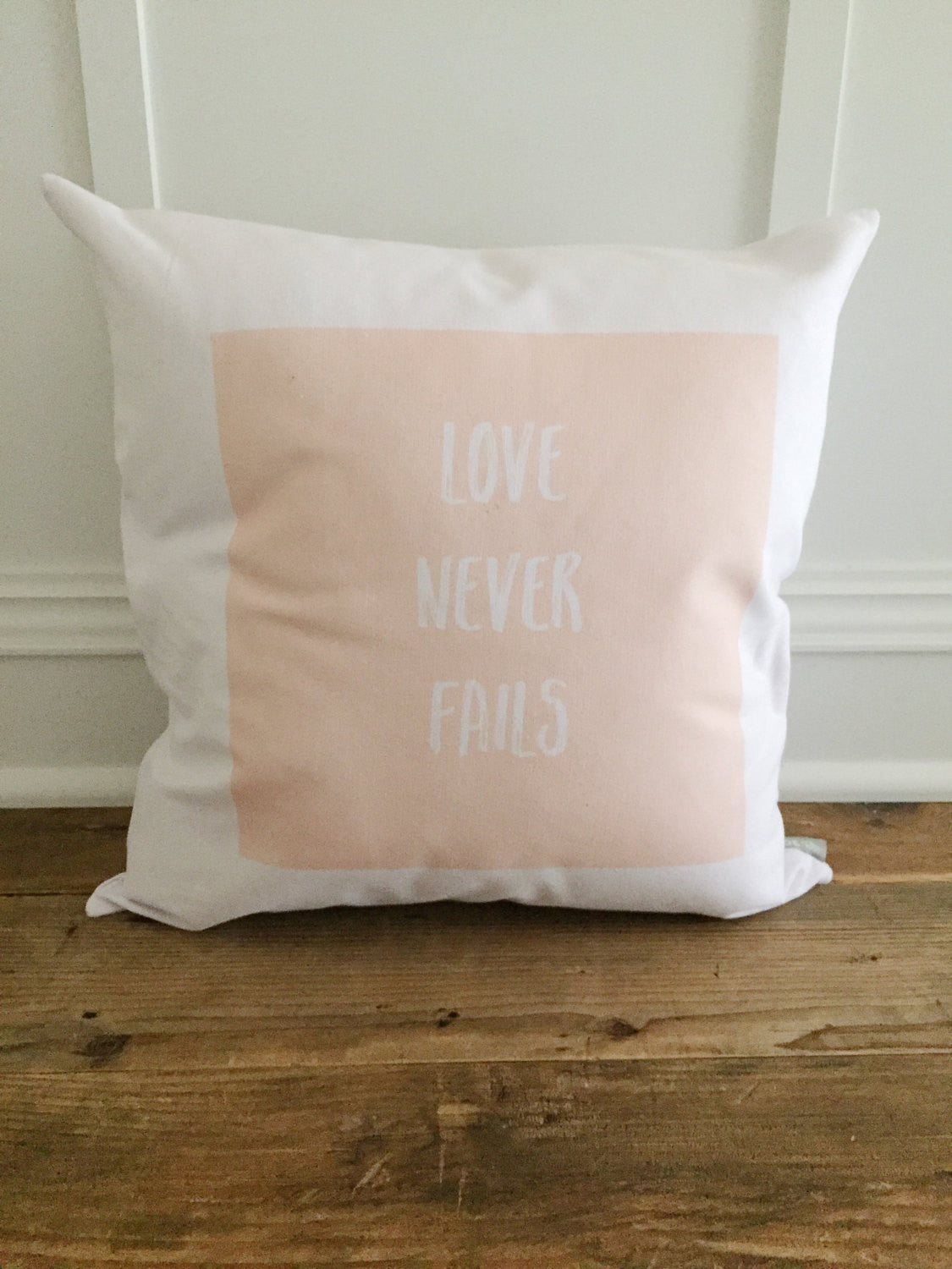 Love Never Fails Pillow Cover - Linen and Ivory