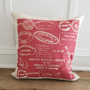 Vintage Love Stamps Pillow Cover - Linen and Ivory