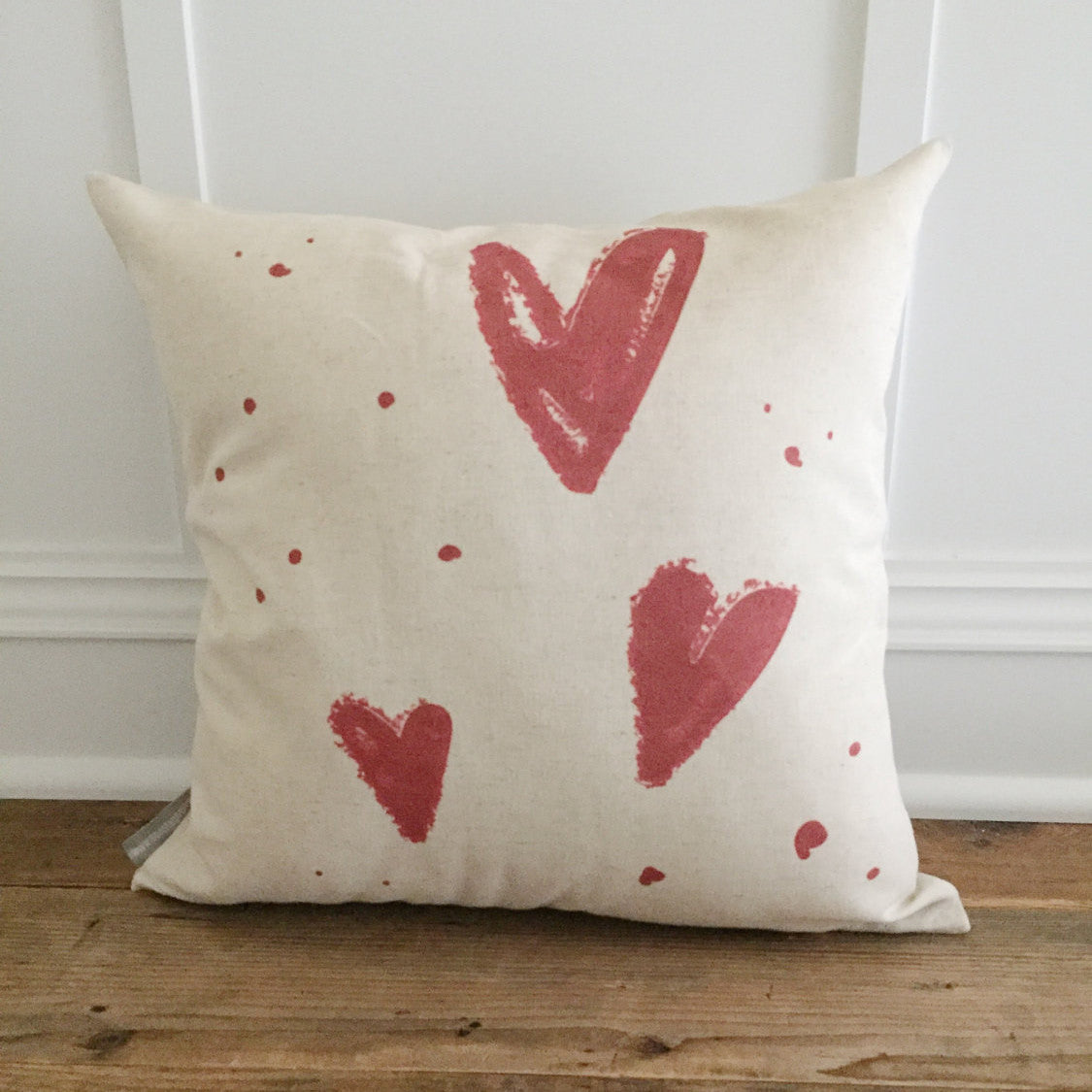 Hearts Pillow Cover - Linen and Ivory