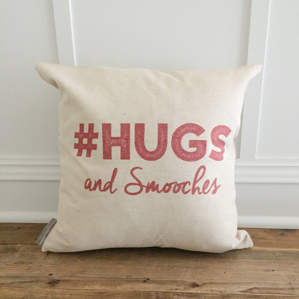 #Hugs and Smooches Pillow Cover (red) - Linen and Ivory