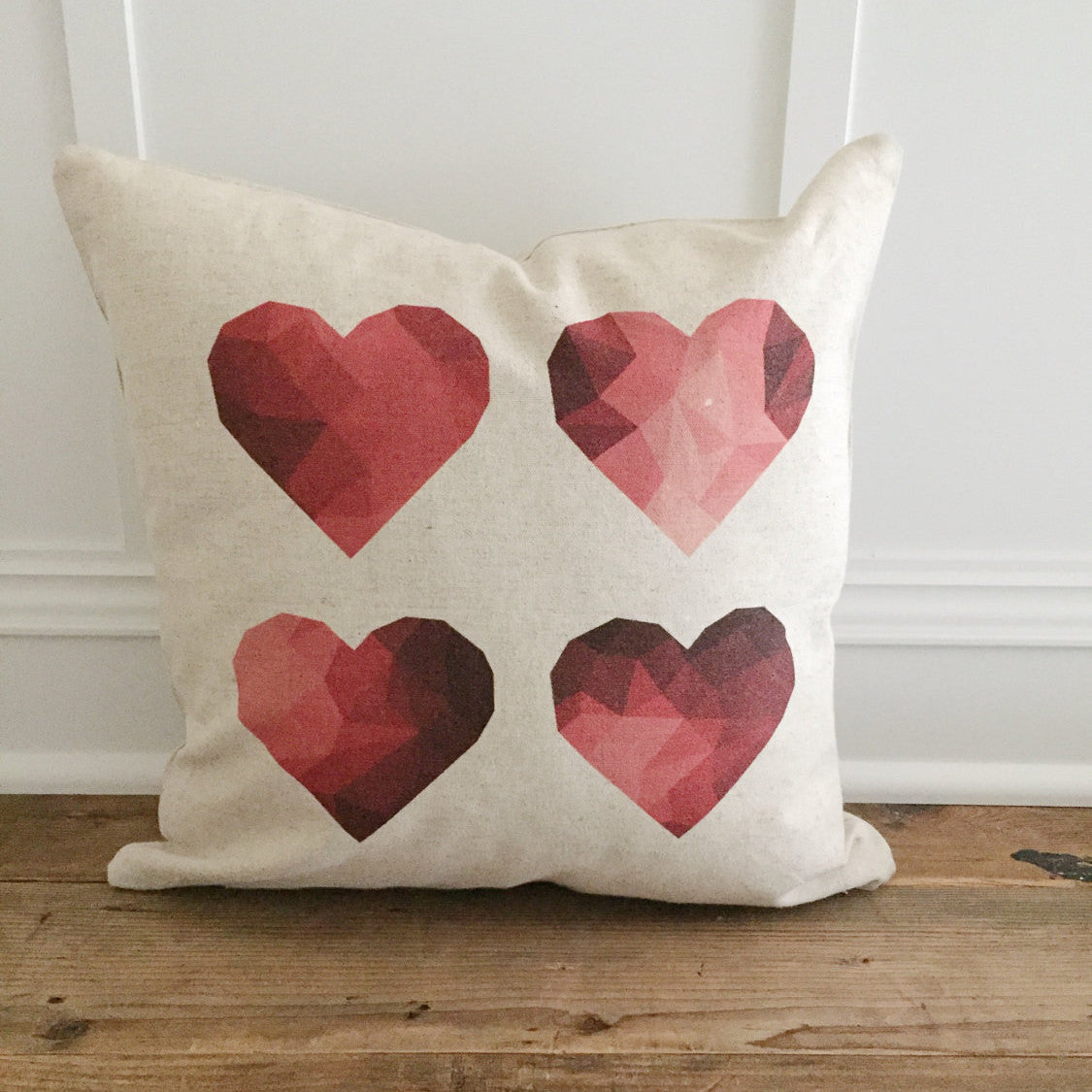 Geometric Hearts Pillow Cover - Linen and Ivory