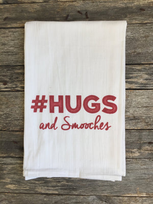 Hugs and Smooches Tea Towel - Linen and Ivory