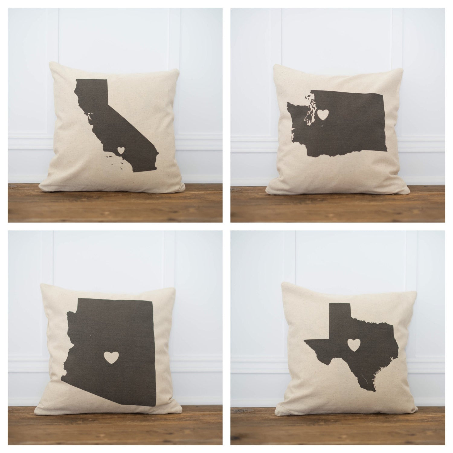 Custom City & State Pillow Cover - Linen and Ivory