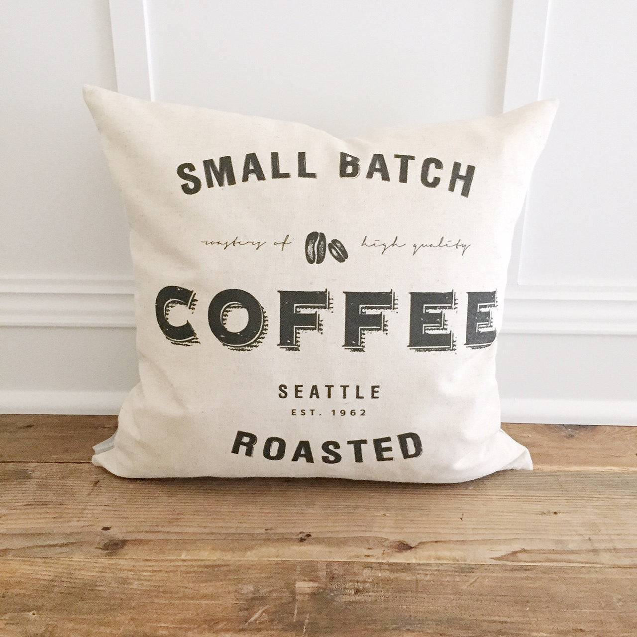 Coffee Typography Pillow Cover - Linen and Ivory