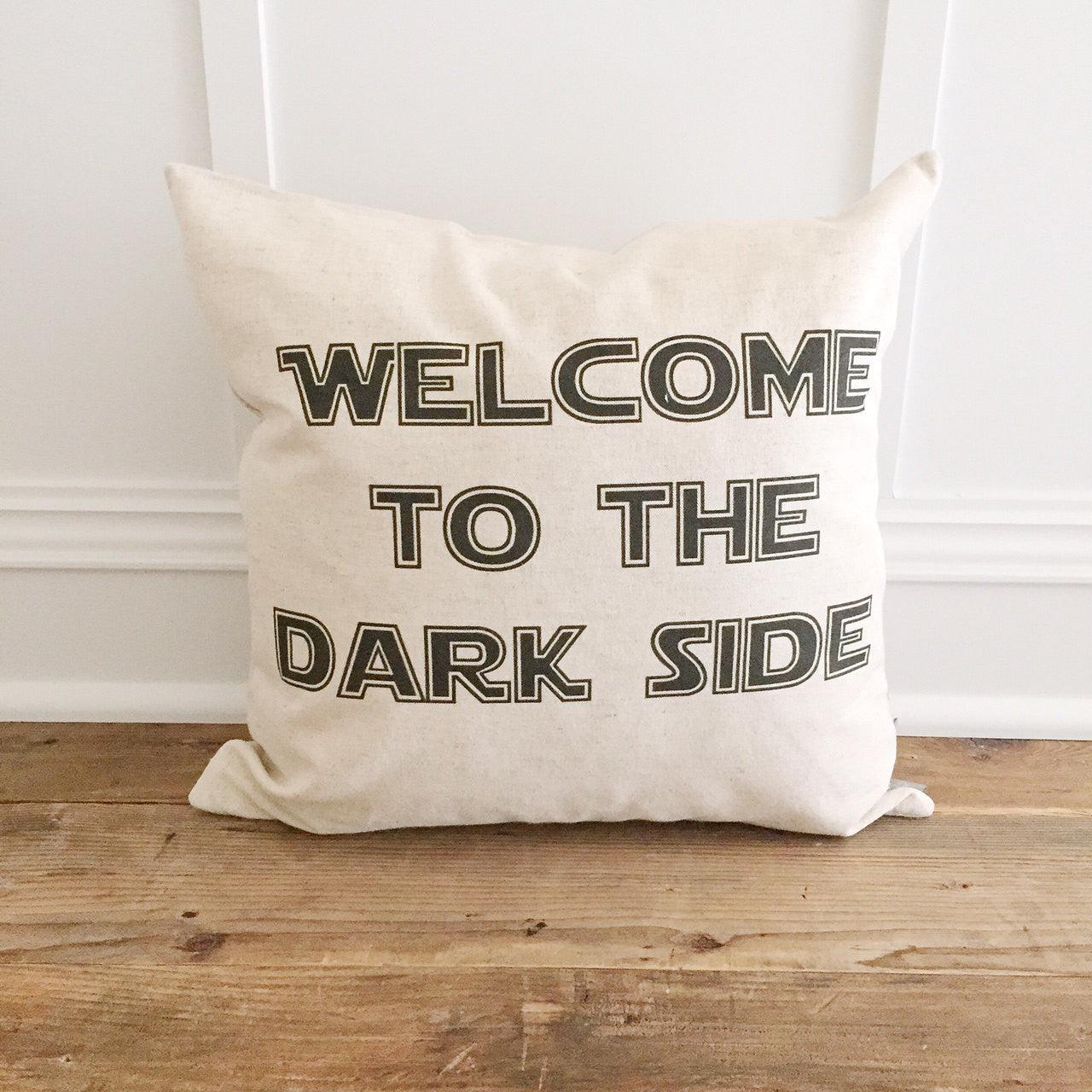 Vintage Welcome To The Dark Side Pillow Cover - Linen and Ivory
