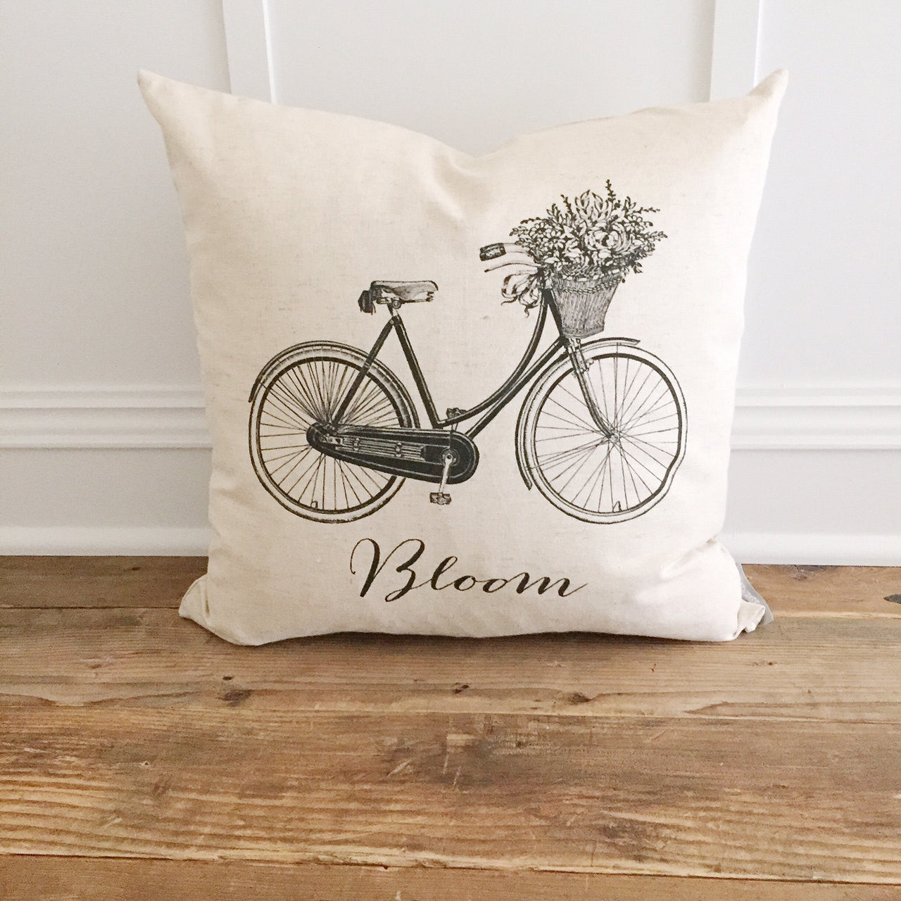 Bloom Bike Pillow Cover - Linen and Ivory