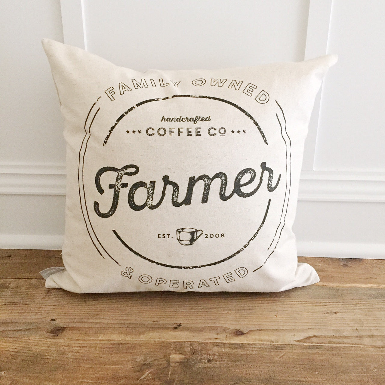 Custom Name Coffee Pillow Cover - Linen and Ivory