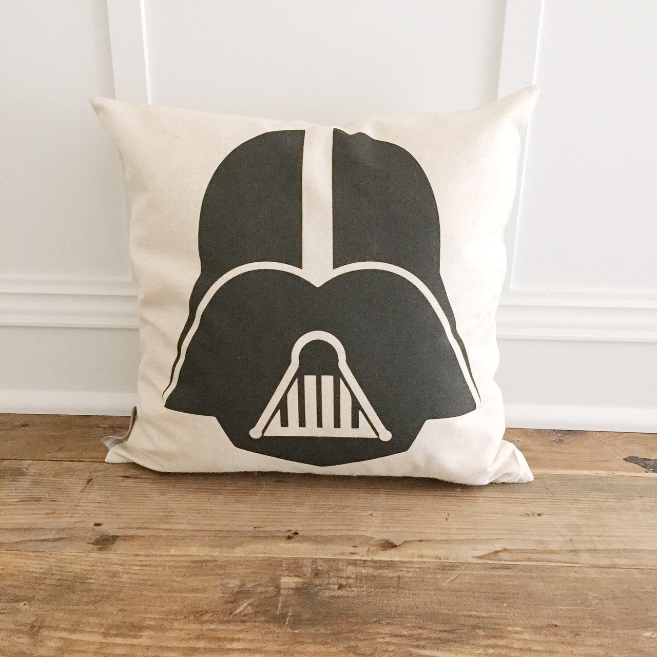 Vintage Darth Vader Pillow Cover - Linen and Ivory