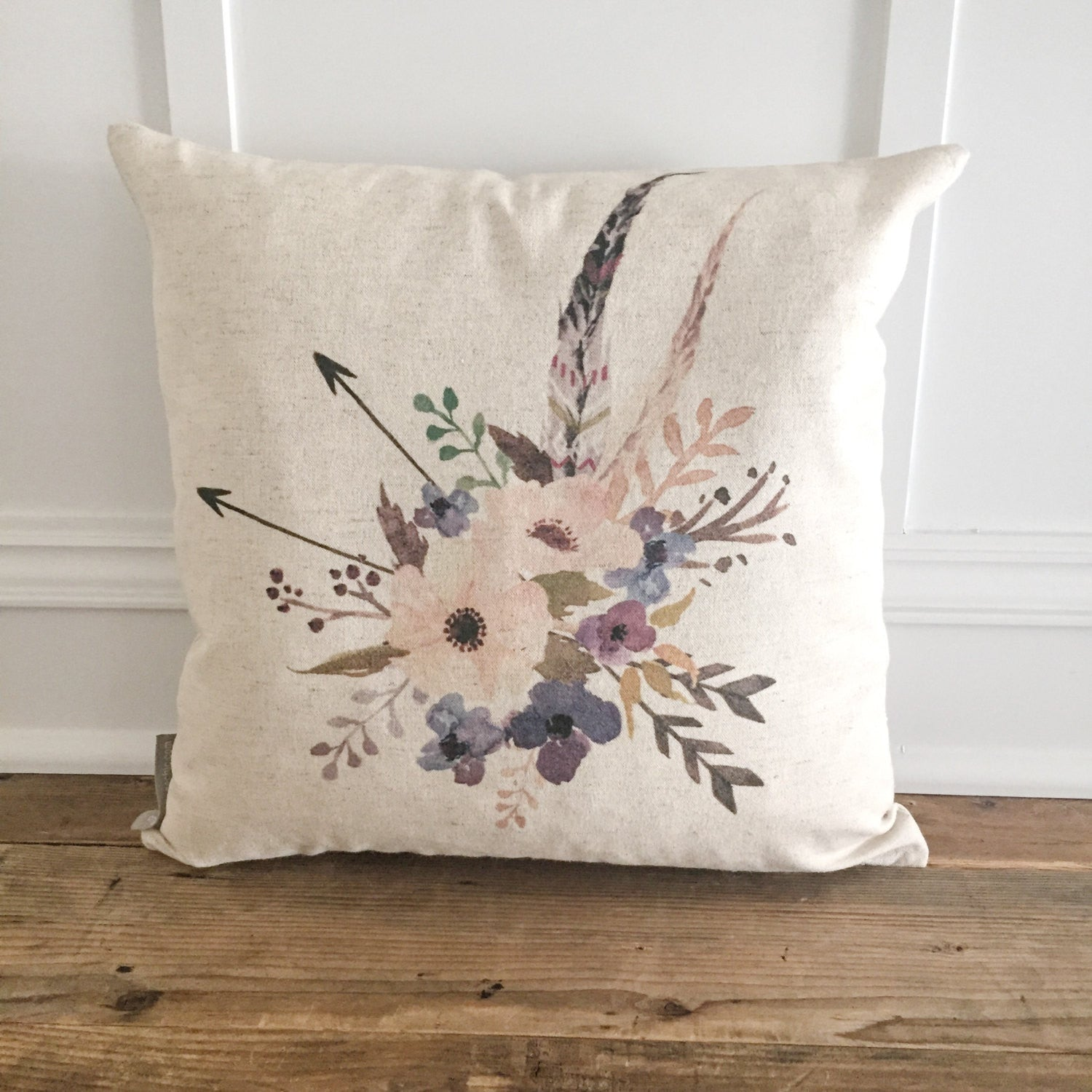 Flowers & Feathers Pillow Cover - Linen and Ivory