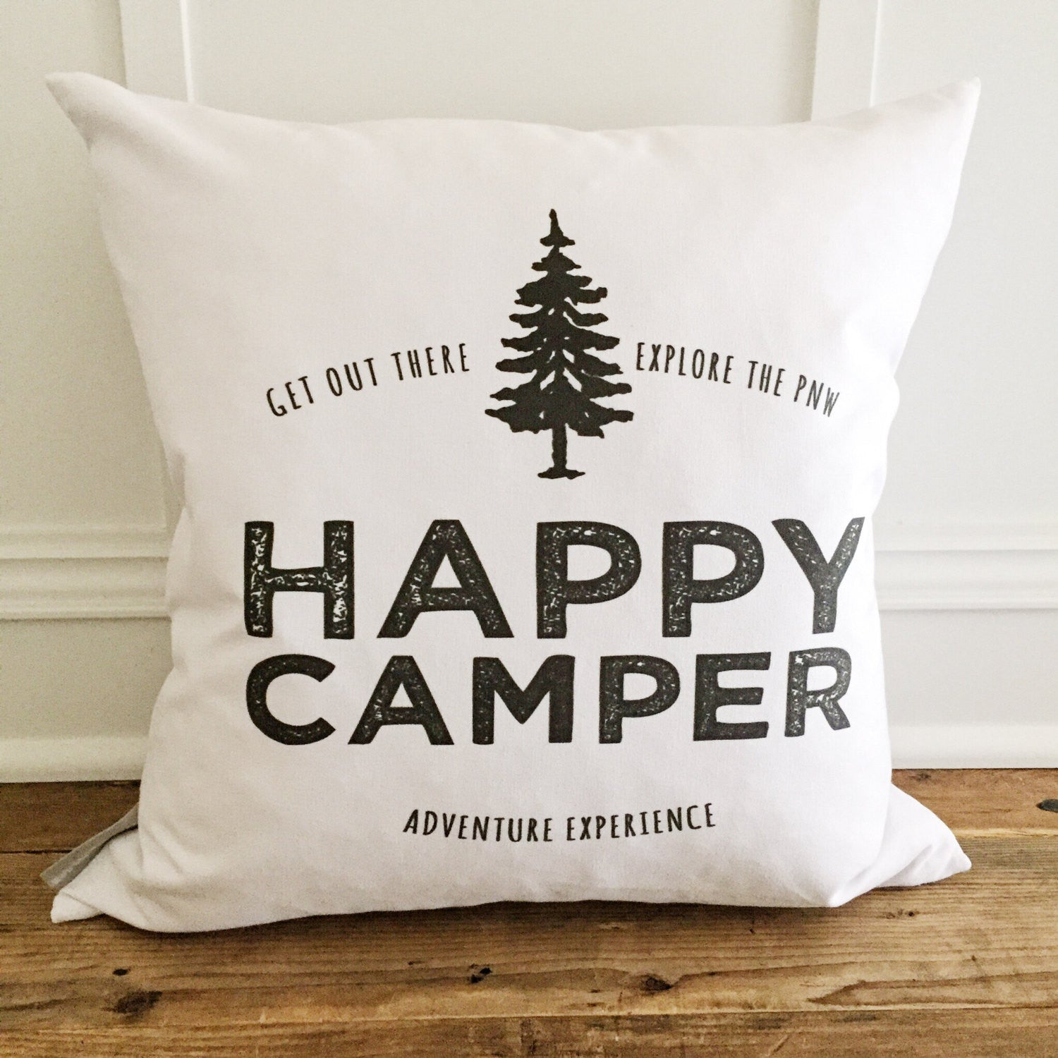 Tree Happy Camper Pillow Cover - Linen and Ivory