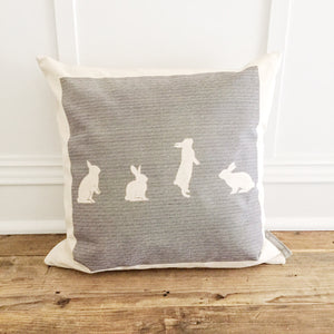 Striped Bunnies Pillow Cover - Linen and Ivory