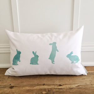 Aqua Watercolor Bunnies Pillow Cover - Linen and Ivory