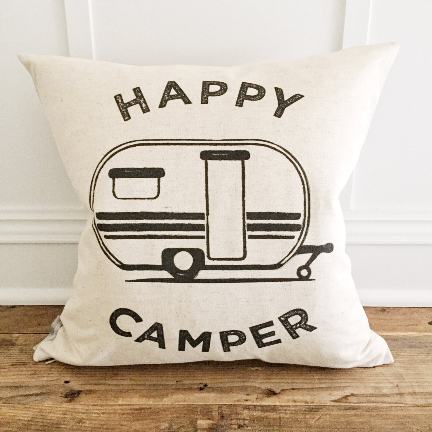 Retro Happy Camper Pillow Cover - Linen and Ivory