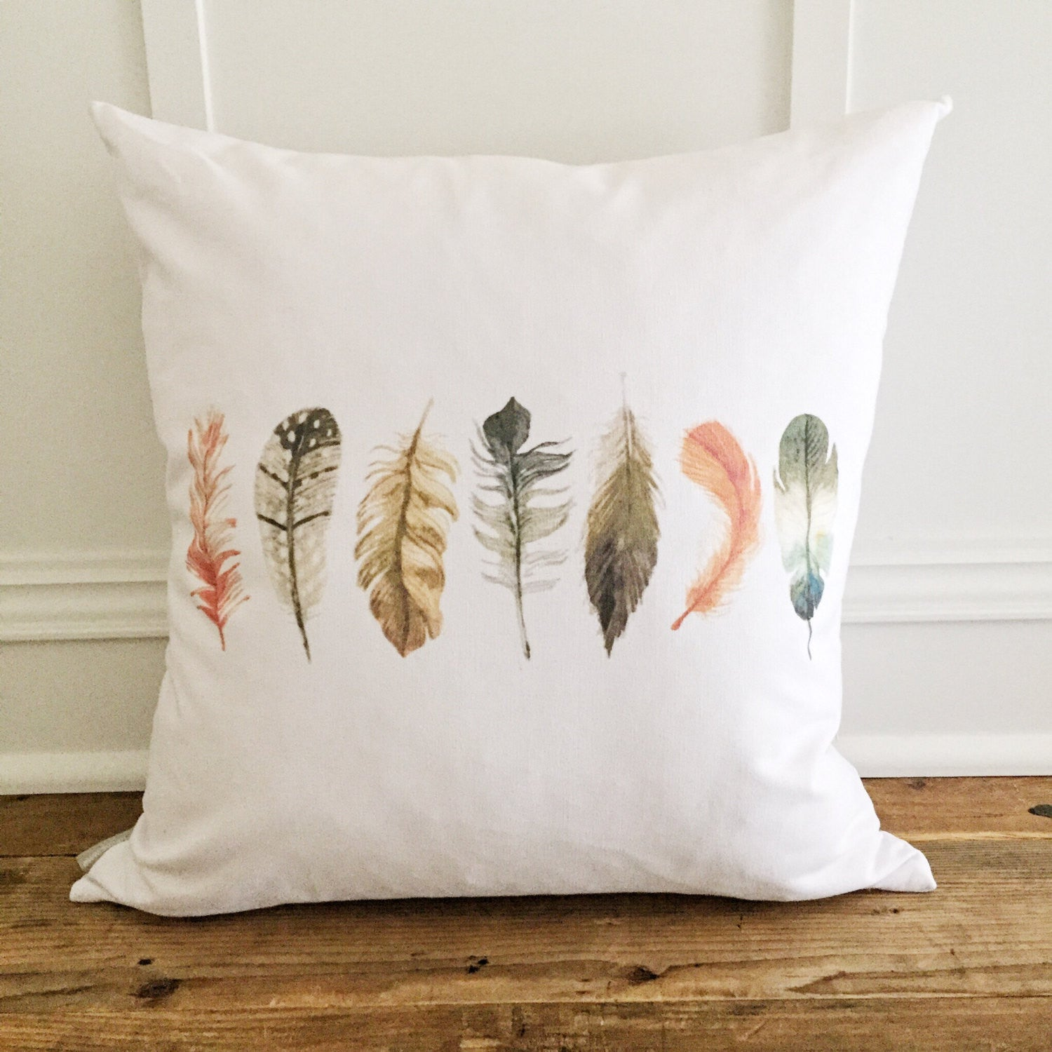 Feathers (Design 2) Pillow Cover - Linen and Ivory