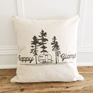 Happy Glamper Pillow Cover - Linen and Ivory