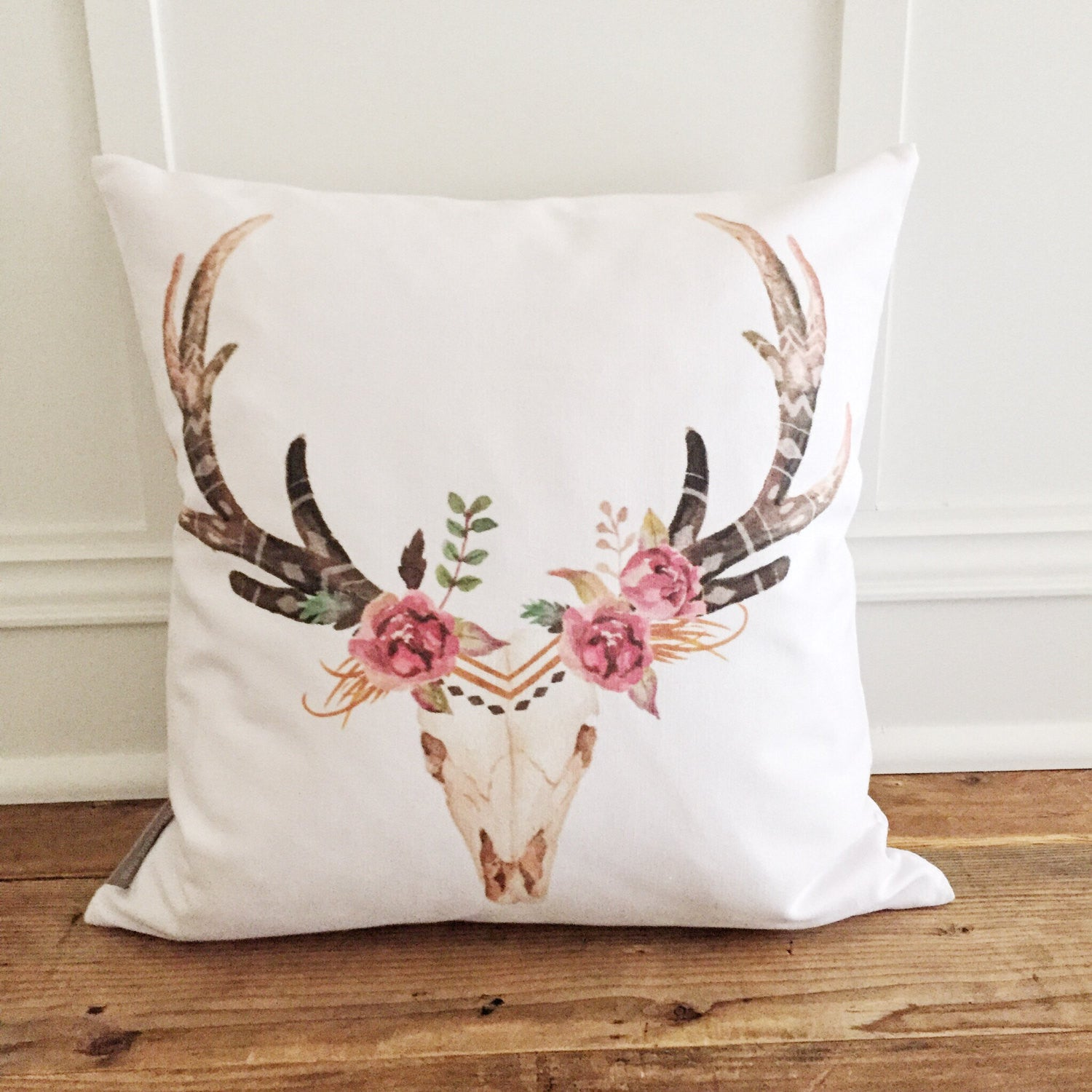 Aztec Deer Pillow Cover (Floral) - Linen and Ivory