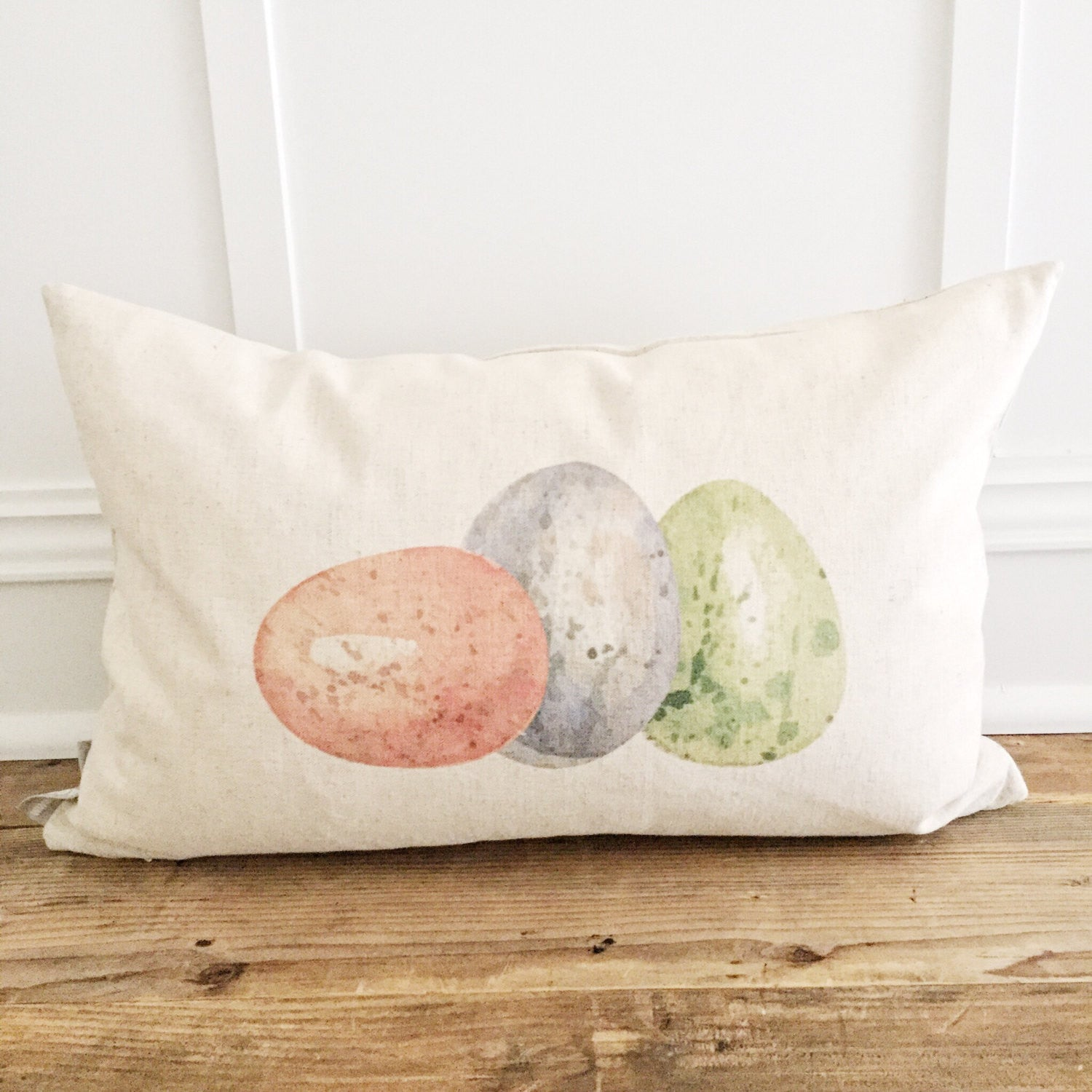 Colored Eggs Pillow Cover - Linen and Ivory