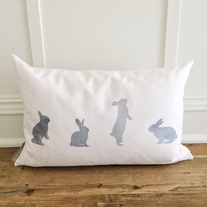 Gray Watercolor Bunnies Pillow Cover - Linen and Ivory