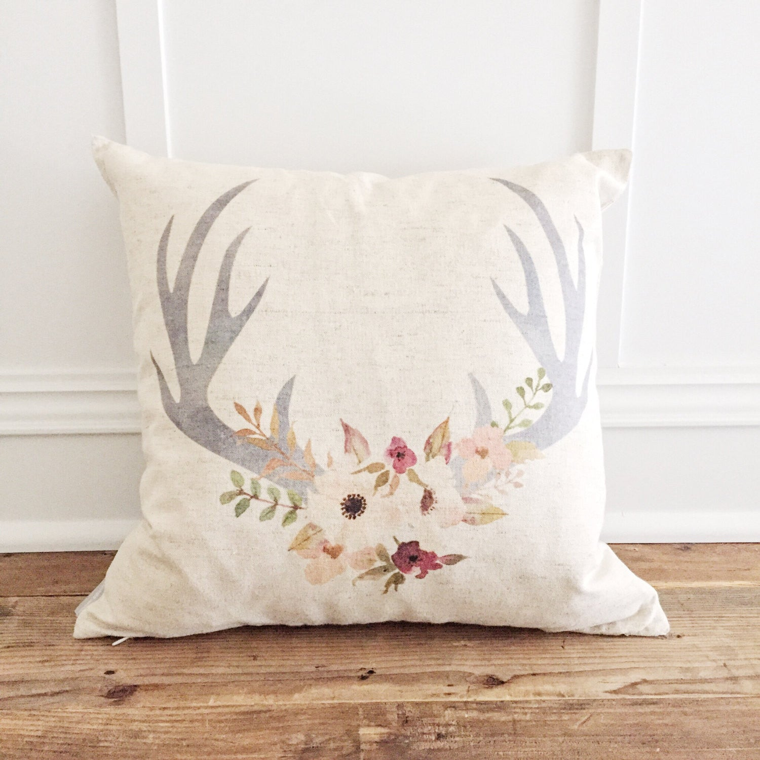 Floral Antler Pillow Cover - Linen and Ivory