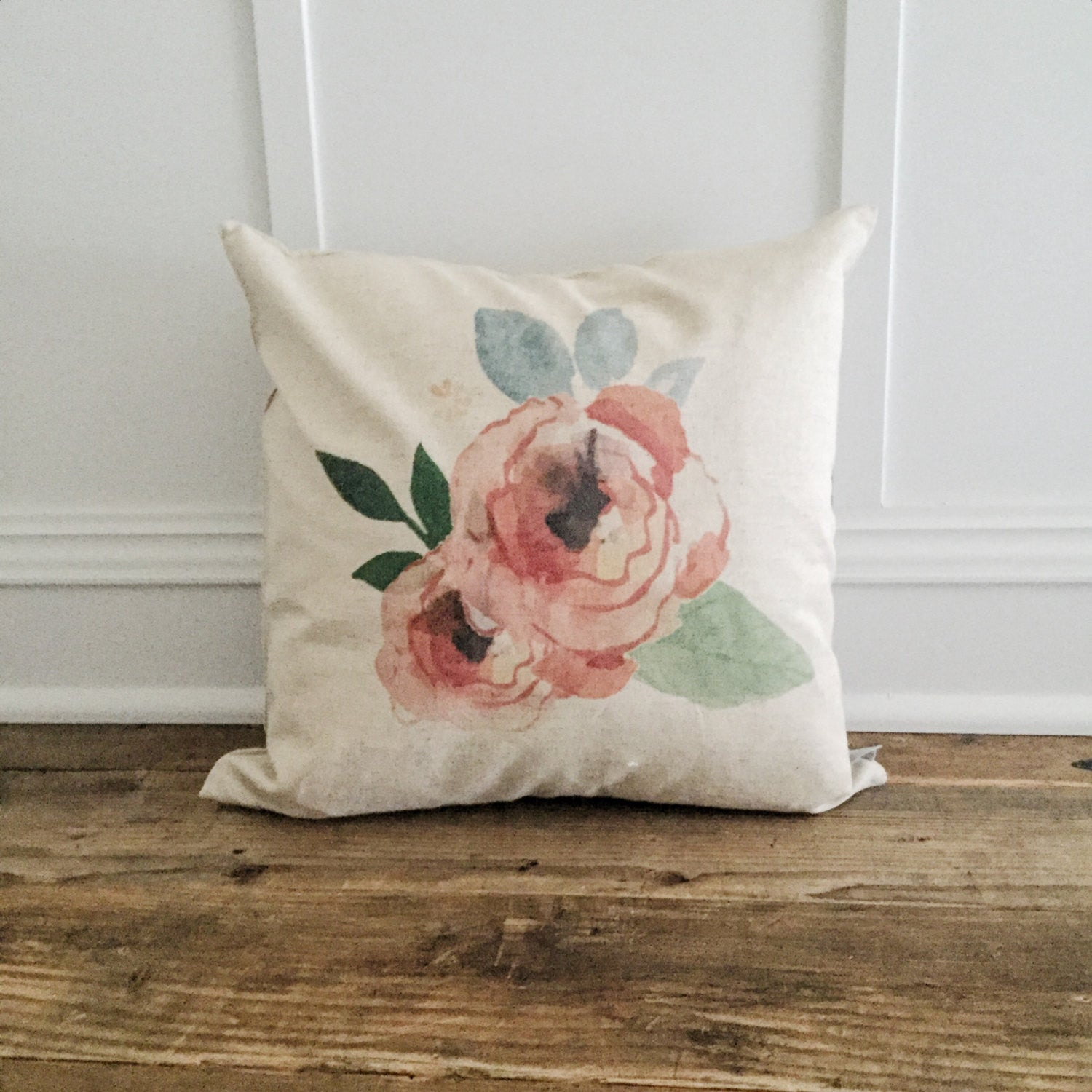 Floral Watercolor Pillow Cover - Linen and Ivory