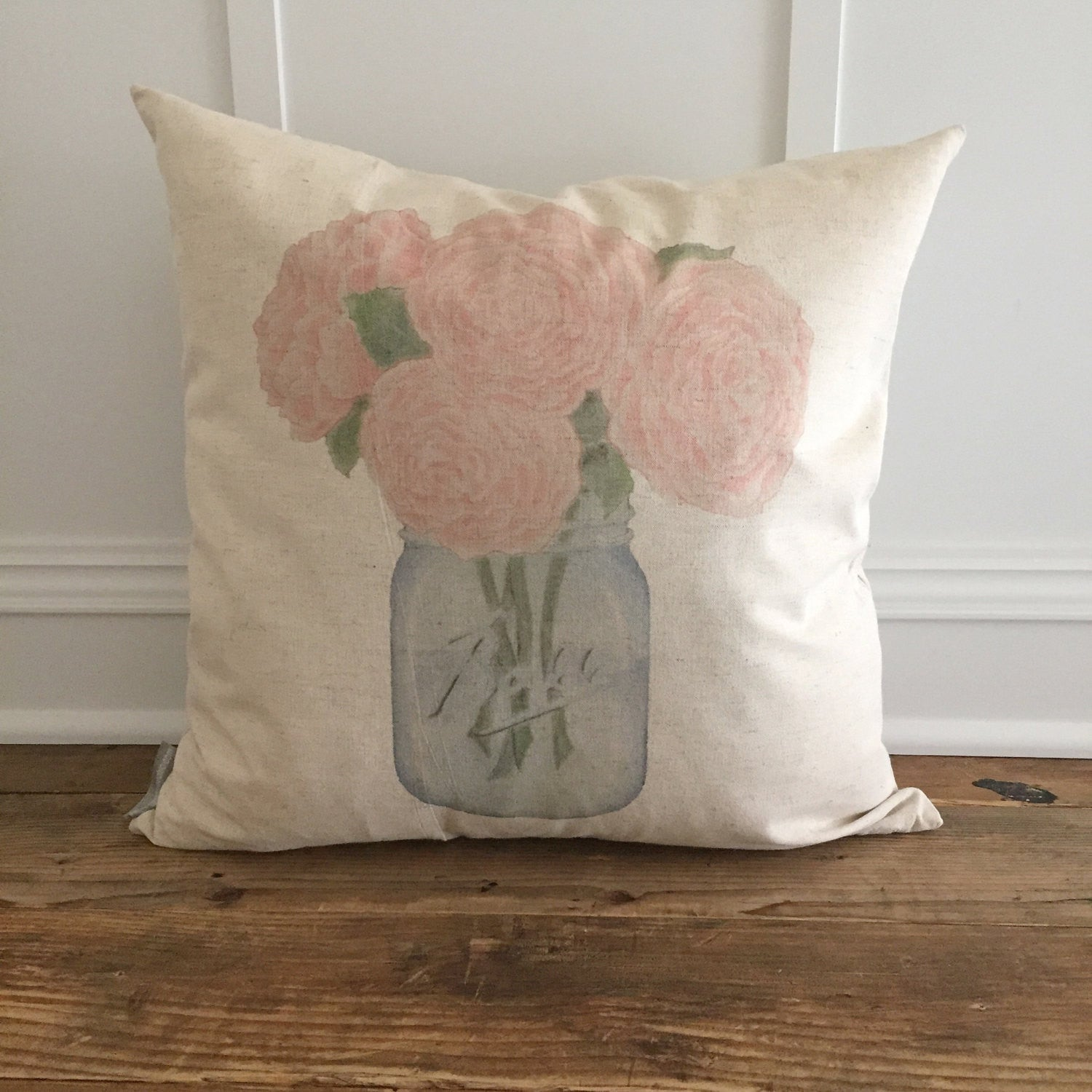 Peonies Mason Jar Pillow Cover - Linen and Ivory