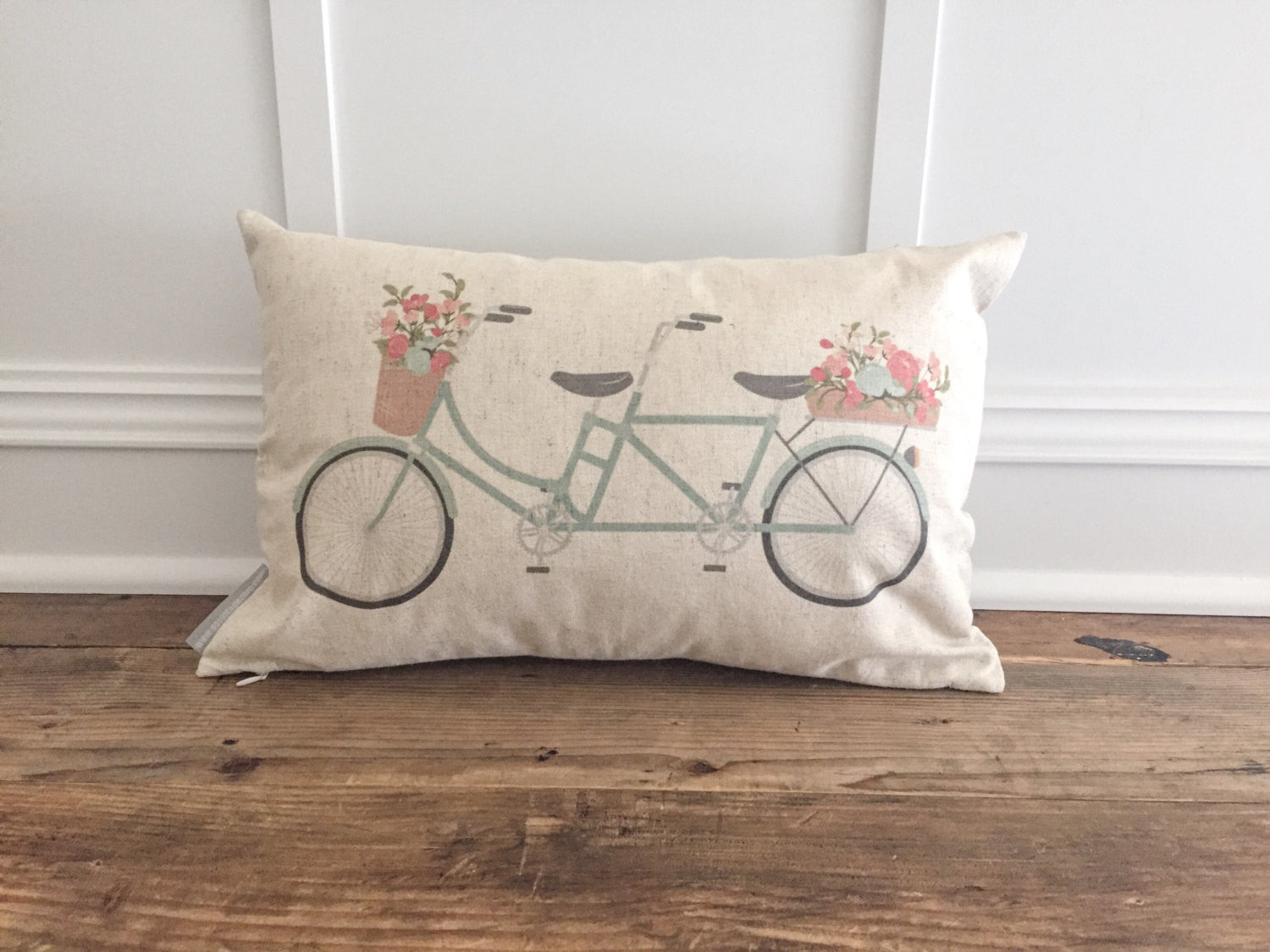 Tandem Bike Pillow Cover - Linen and Ivory