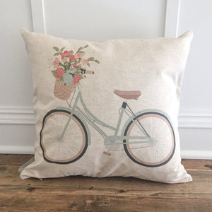 Aqua Bike Pillow Cover - Linen and Ivory