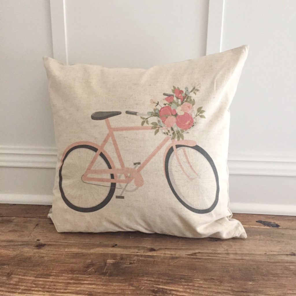 Pink Bike Pillow Cover - Linen and Ivory