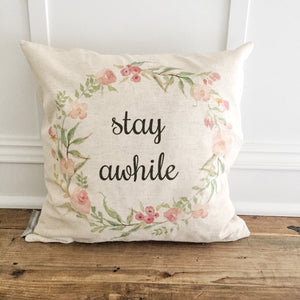 Stay Awhile Floral Wreath Pillow Cover - Linen and Ivory