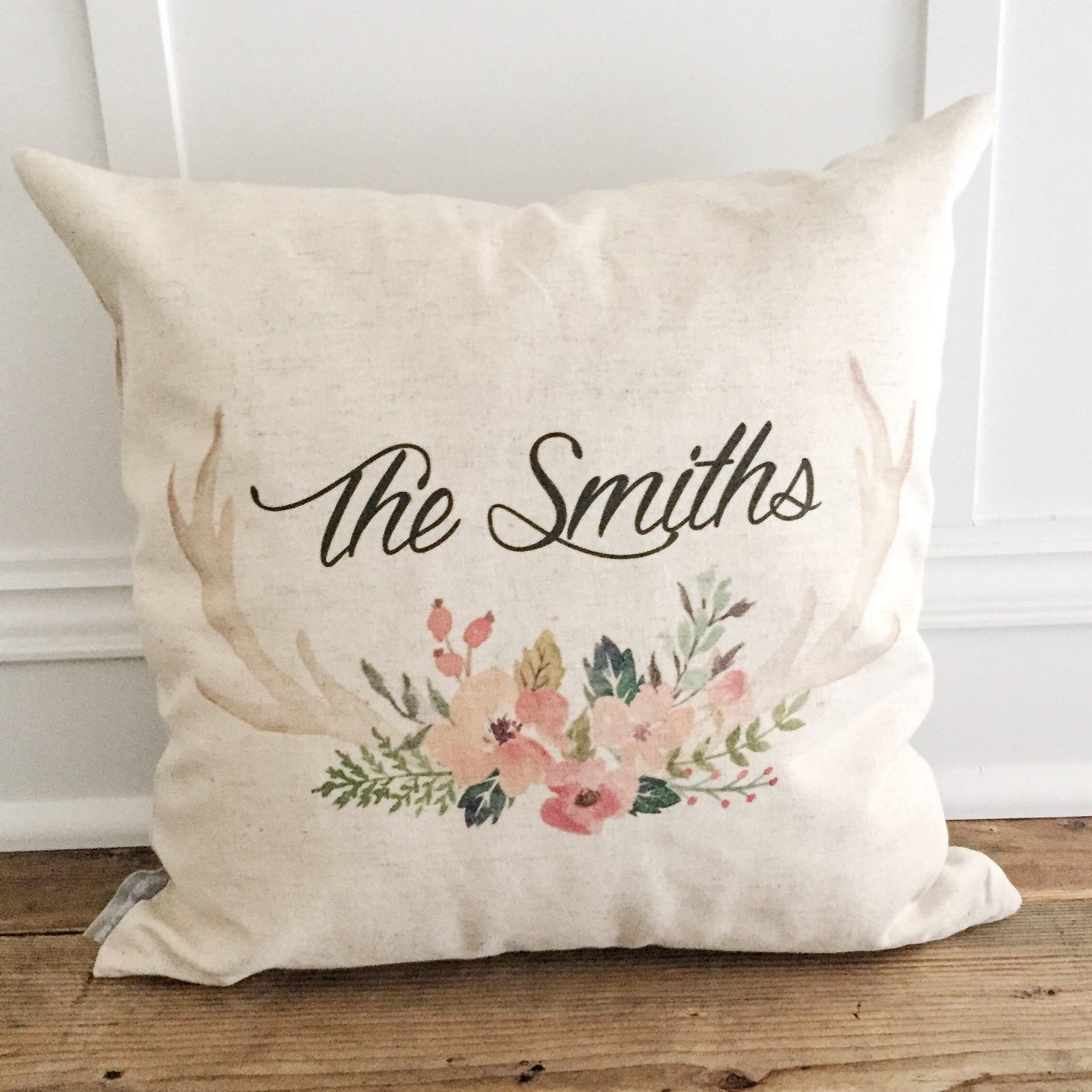 Custom Floral Antler Pillow Cover - Linen and Ivory