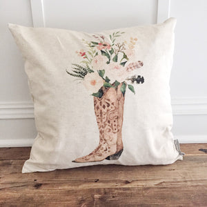 Floral Boot Pillow Cover - Linen and Ivory