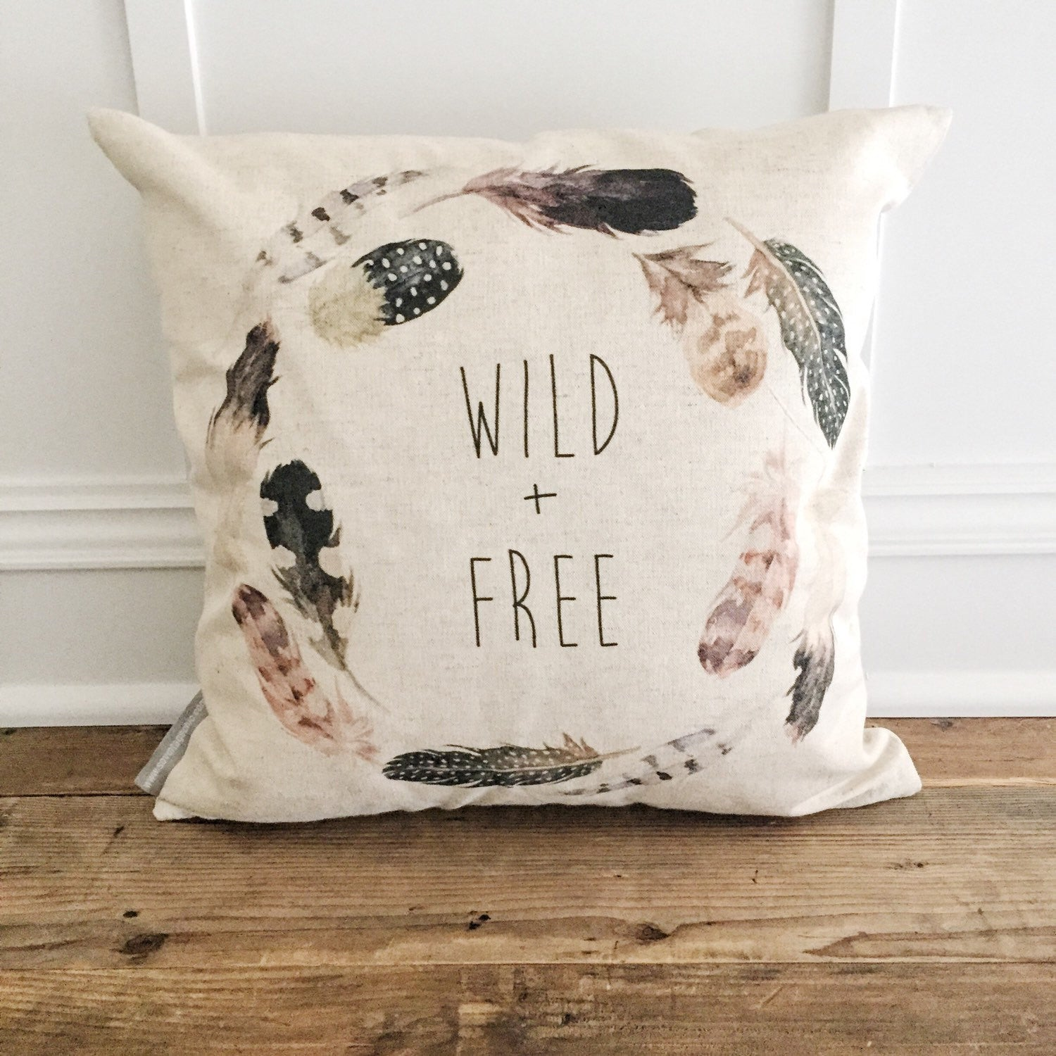 Wild + Free Pillow Cover - Linen and Ivory