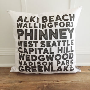 Seattle Suburbs Pillow Cover (Pike Place) - Linen and Ivory