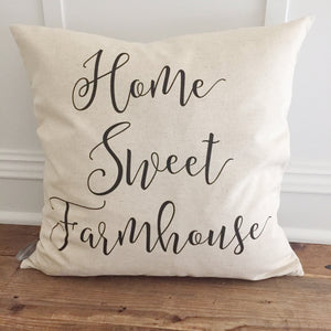 Home Sweet Farmhouse Pillow Cover - Linen and Ivory