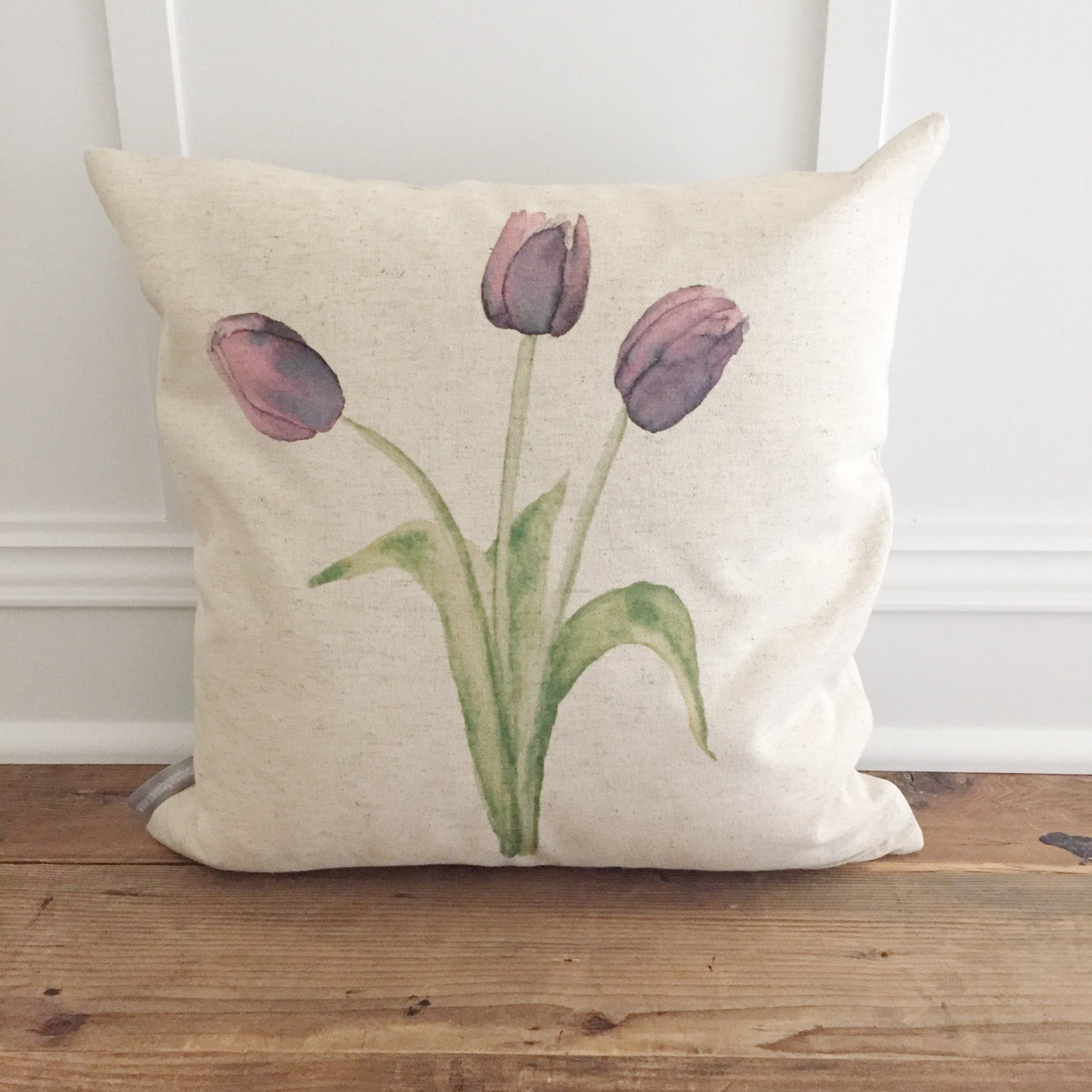 Watercolor Tulips Pillow Cover - Linen and Ivory