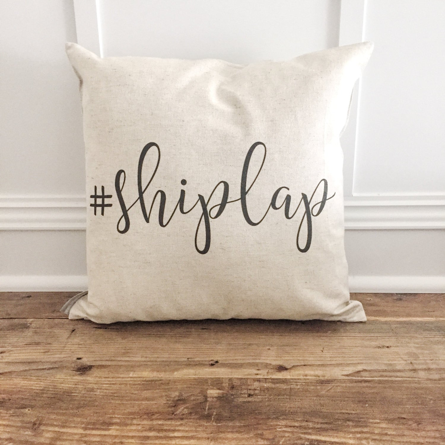 Shiplap Pillow Cover - Linen and Ivory