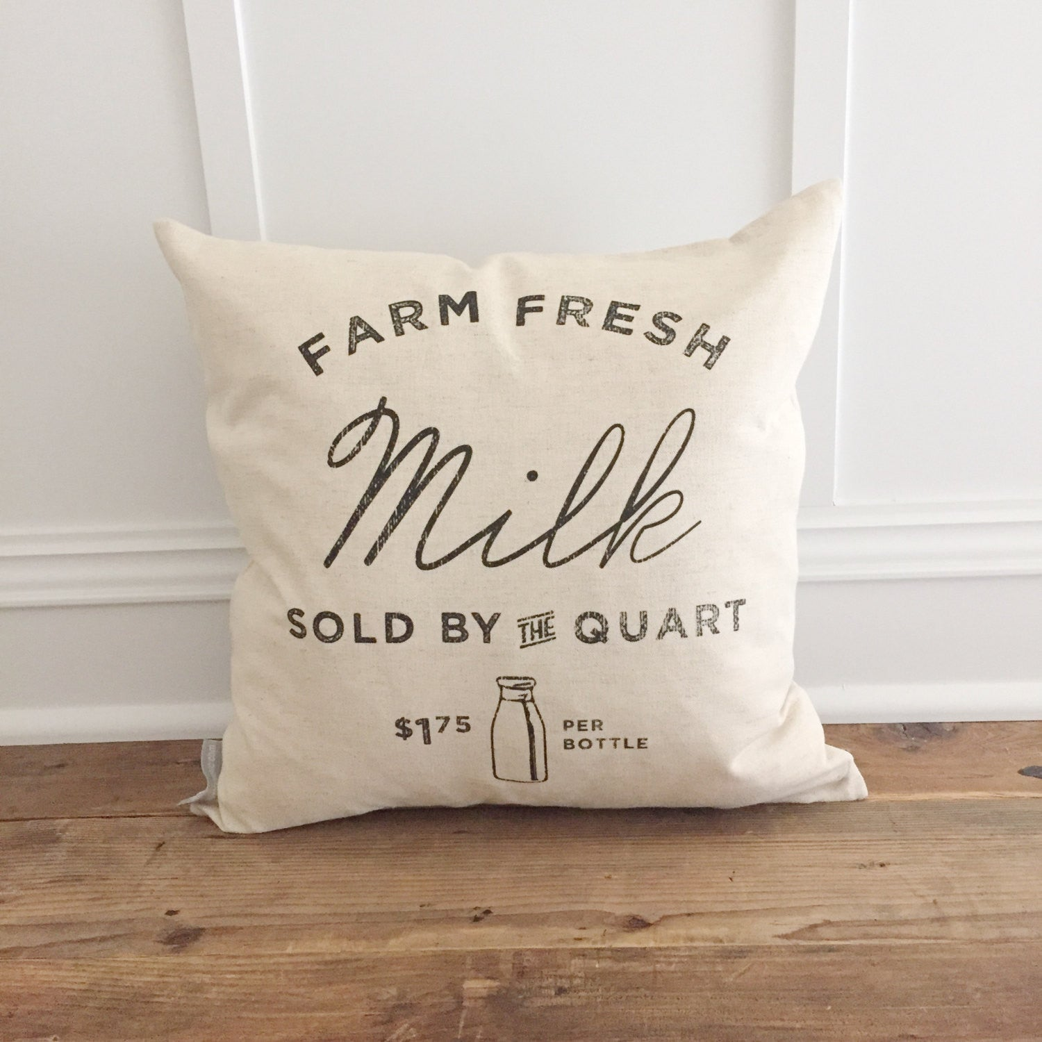 Farm Fresh Milk Pillow Cover - Linen and Ivory